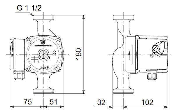 Габариты и размеры подсоединения циркуляционного насоса Grundfos UPS 25-60 180