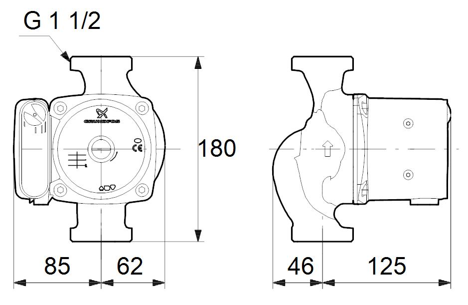 Габариты и размеры подсоединения циркуляционного насоса Grundfos UPS 25-80 180