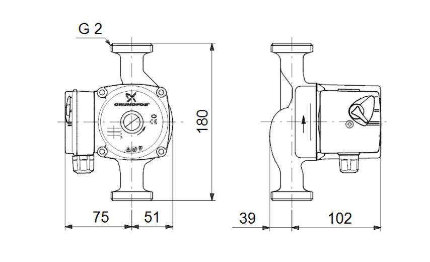 Габариты и размеры подсоединения циркуляционного насоса Grundfos UPS 32-60 180