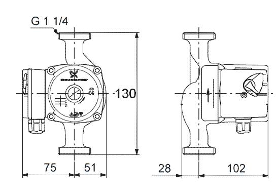 Габариты и размеры подсоединения циркуляционного насоса Grundfos UPS 25-40 130