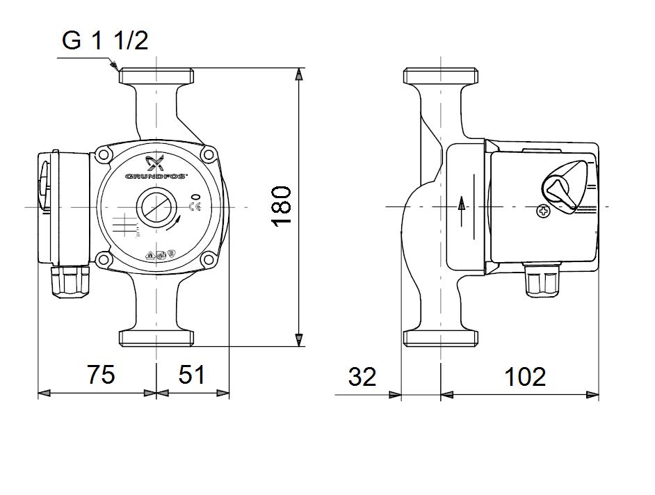 Габариты и размеры подсоединения циркуляционного насоса Grundfos UPS 25-40 180