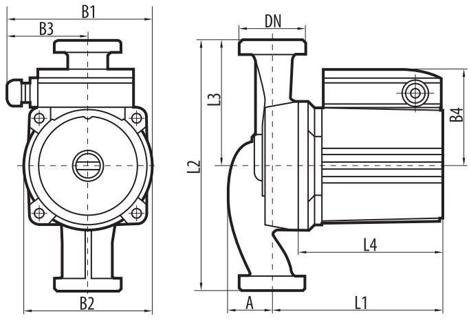 Габаритные размеры циркуляционного насоса Sprut LRS-25-7S 180