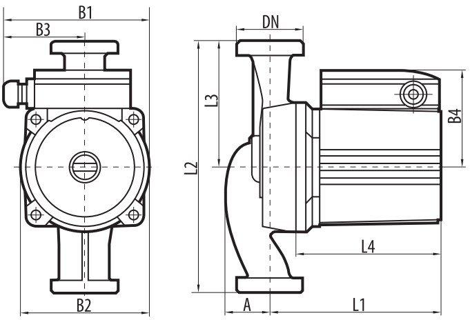Габаритные размеры циркуляционного насоса Sprut LRS-25-8S 180