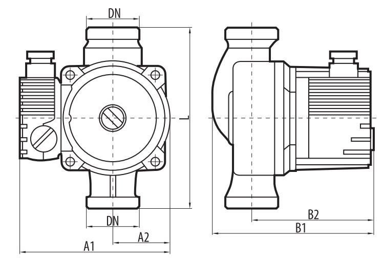 Габаритные размеры циркуляционного насоса Sprut LRS-15-6S