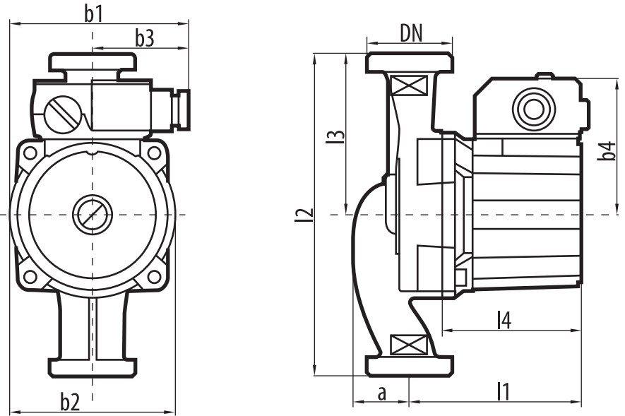 Габаритные размеры циркуляционного насоса Sprut LRS-25-6S 180
