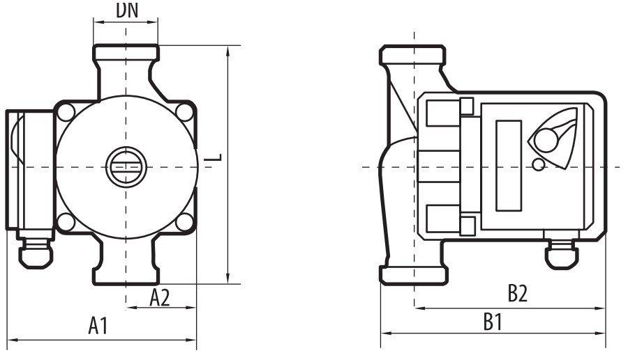 Габаритные размеры циркуляционного насоса Sprut GPD-25-6S 180