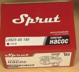 Комплектация поставки циркуляционного насоса Sprut LRS-25-6S 180