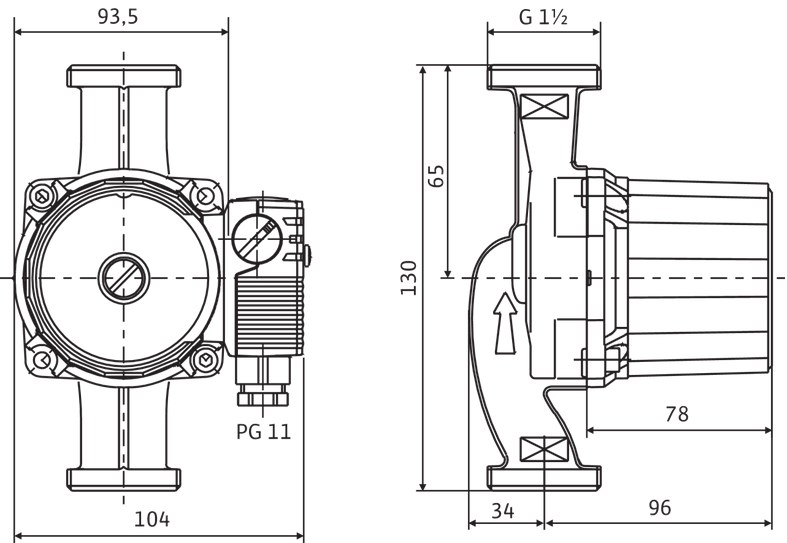 Габариты и размеры подсоединения циркуляционного насоса Wilo Star RS-15/4 130