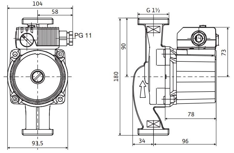Габариты и размеры подсоединения циркуляционного насоса Wilo Star RS-25/4 180