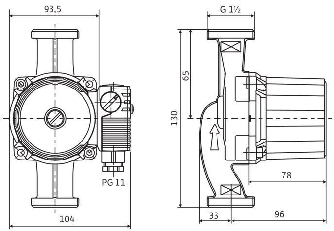 Габариты и размеры подсоединения циркуляционного насоса Wilo Star RS-25/6 180