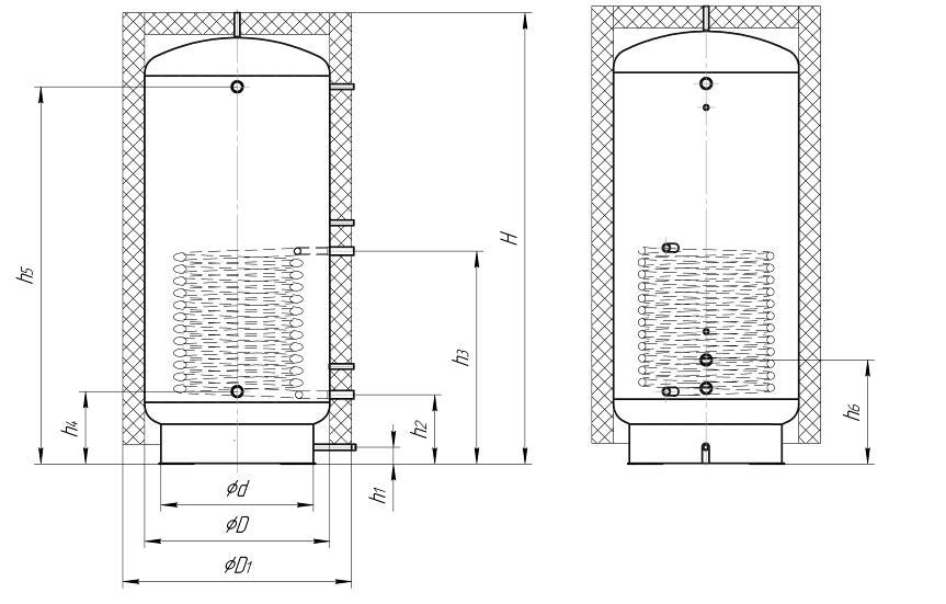 Схема размещения патрубков теплоаккумуляторного бака Kronas