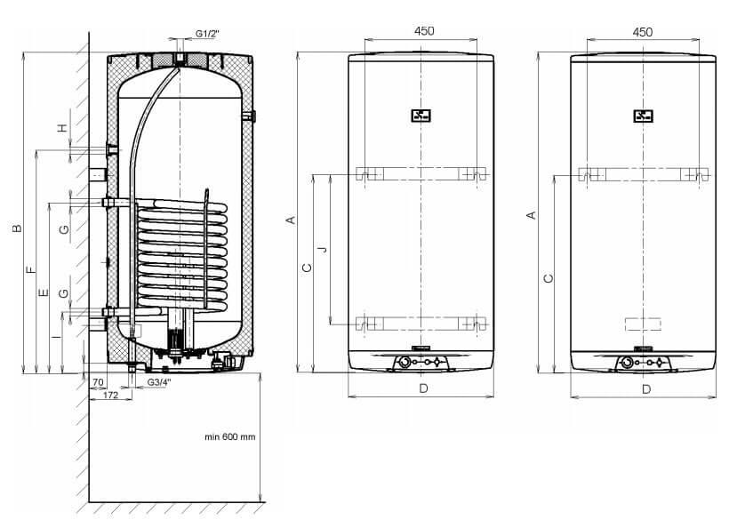 Габариты и размеры подключений бойлеров косвенного нагрева OKC 160|200 NTR/Z