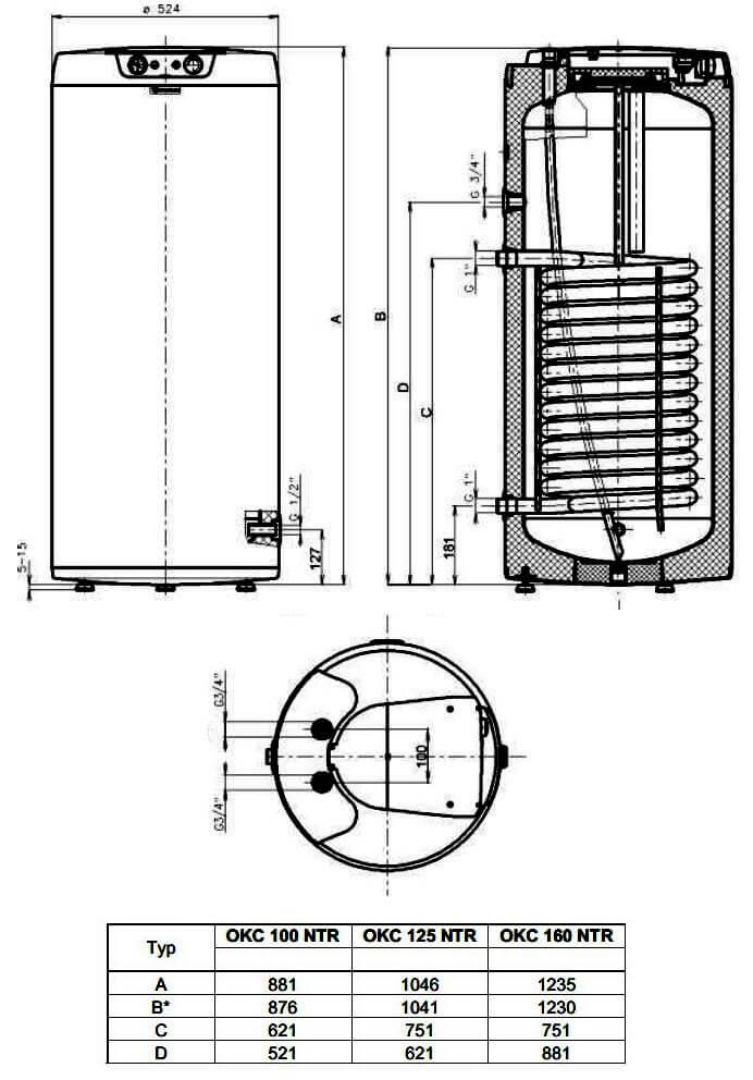Габариты и выходы на подключения бойлера косвенного нагрева Drazice OKC 100-160 NTR