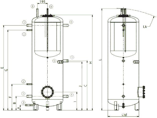 Схема подключений аккумулирующих баков со встроенным бойлером для ГВС Дражице NADO v1