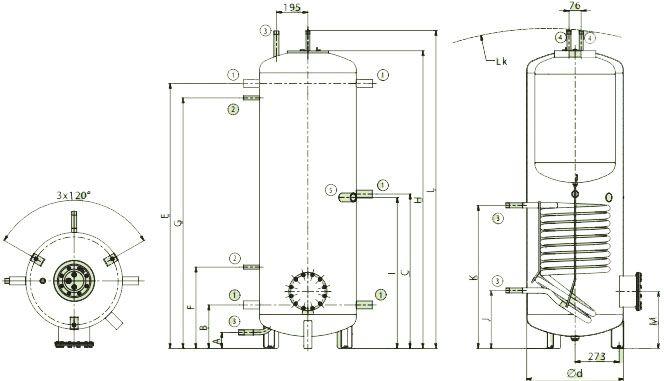 Схема подключений аккумулирующих баков со встроенным бойлером для ГВС Дражице NADO v2
