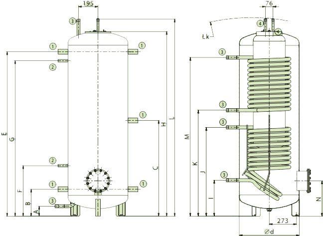 Схема подключений аккумулирующих баков со встроенным бойлером и двумя змеевиками для ГВС Дражице NADO v3