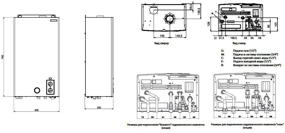 Габаритные размеры газового котла RÖDA Eco Duo OC 24