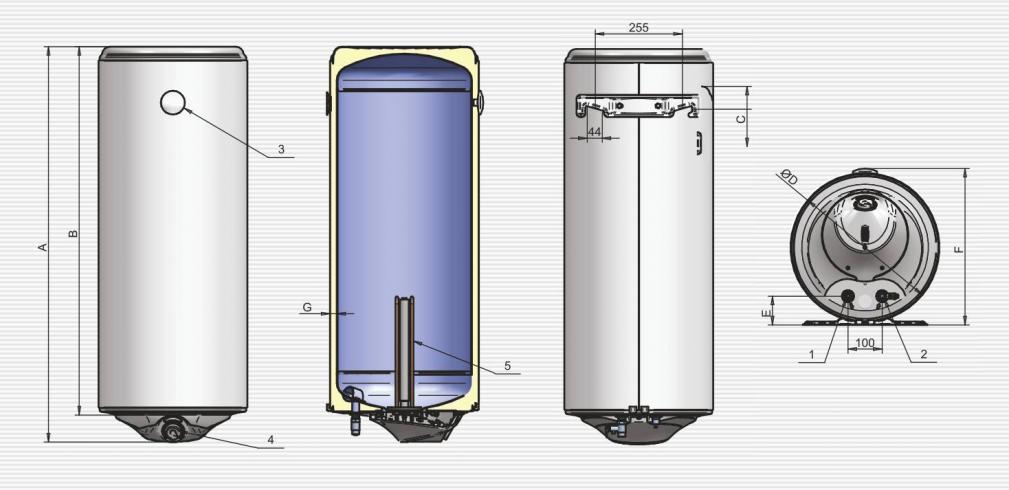 Габаритные размеры водонагревателя ELDOM Style 100