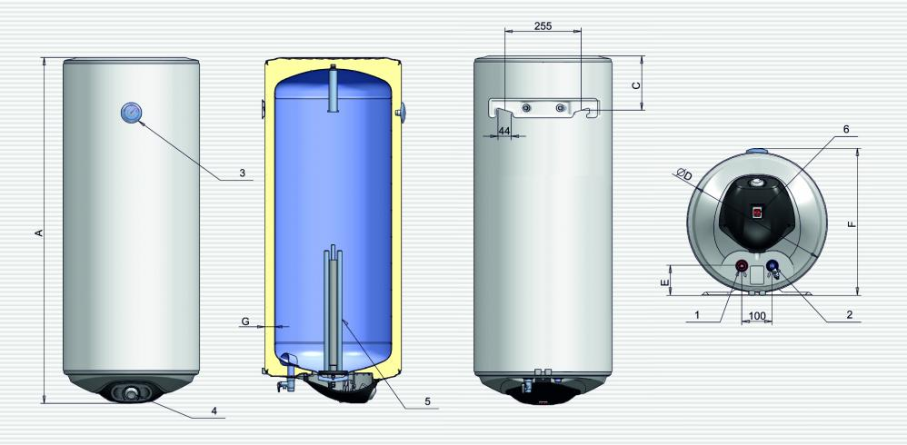 Габаритные размеры водонагревателя ELDOM EUREKA 100