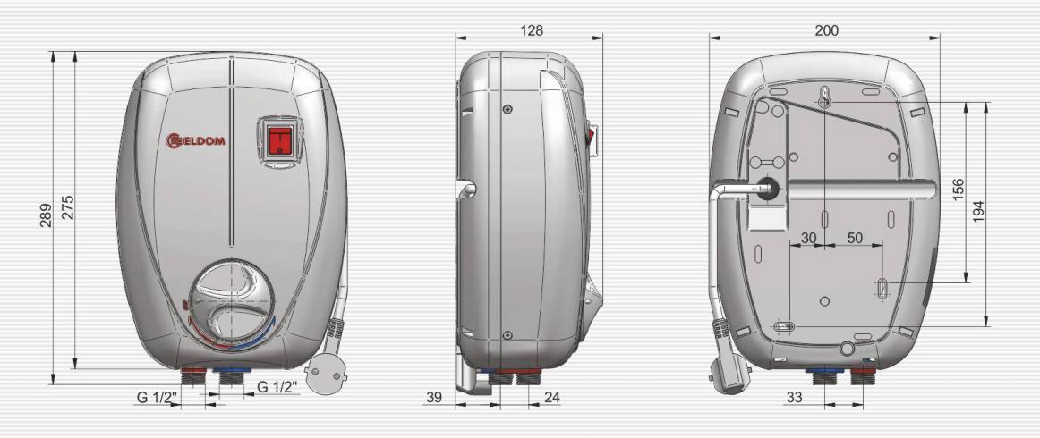 Габаритные размеры водонагревателя ELDOM BETTA кран