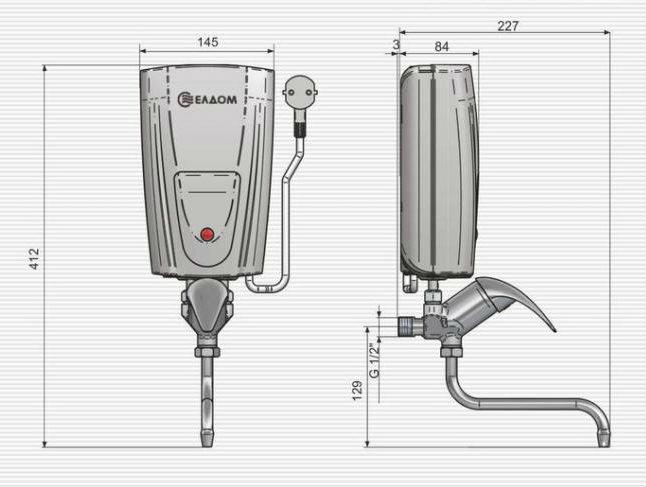 Габаритные размеры водонагревателя ELDOM кран