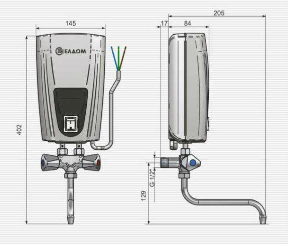 Габаритные размеры водонагревателя ELDOM смеситель 3500 W