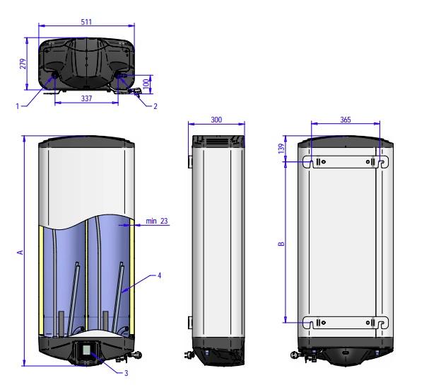 Габаритные размеры водонагревателя ELDOM Galant DRY