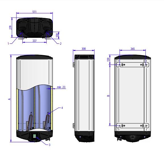 Габаритные размеры водонагревателя ELDOM Galant