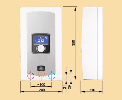 Габаритные размеры водонагревателя проточного Коспел EPME LCD