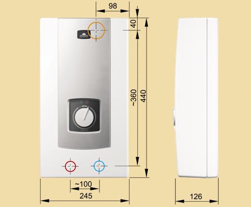 Габаритные размеры водонагревателя Kospel PPH2