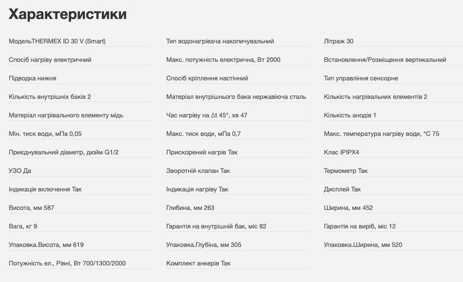 Характеристики THERMEX ID Smart 30 рис.2