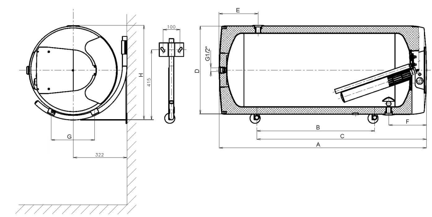 Габариты и выходы горизонтального круглого электрического водонагревателя Drazice OKCEV