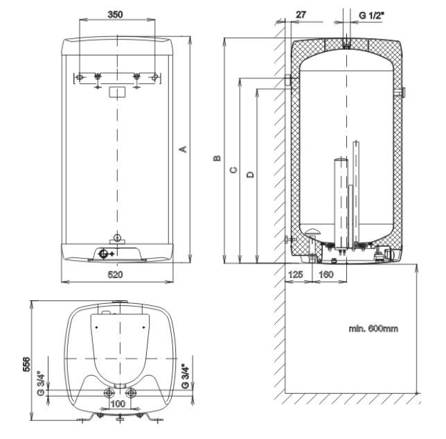 Габариты и выходы прямоугольного электрического водонагревателя Drazice OKHE