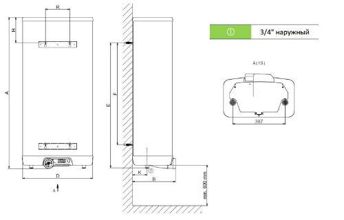 Габаритные размеры плоских водонагревателей электрических Drazice OKHE ONE