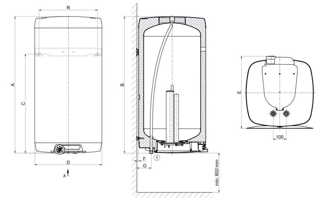 Габаритные размеры водонагревателей электрических Drazice OKHE SMART